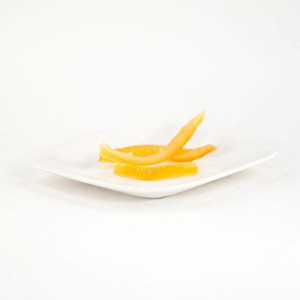 Tiras de cáscara de naranja confitada