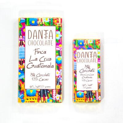 Barra de chocolate con leche 43% cacao Finca La Cruz