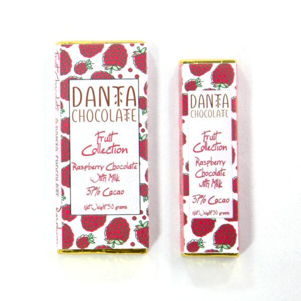 Barra de chocolate con frambuesas y leche 37% cacao